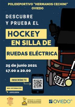 cartel promocional de evento hockey silla eléctrica