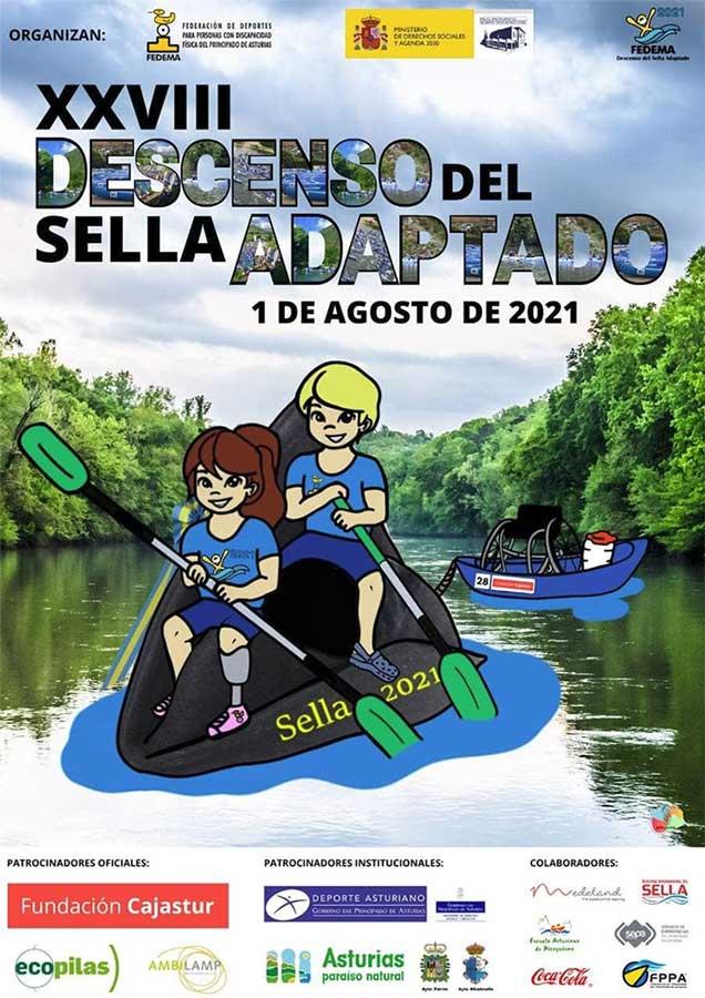 Cartel del XXVIII descenso del Sella Adaptado. Ilustración de dos personas en piragua sobre el Sella